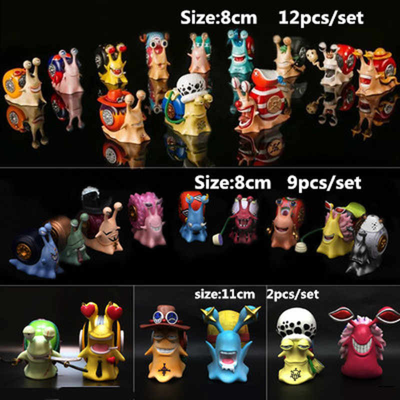 Anime One Piece Luffy Law Ace Chopper Nami Robin Doflamingo Action Figure Den Den Mushi Telephone Figure PVC Model Toys
