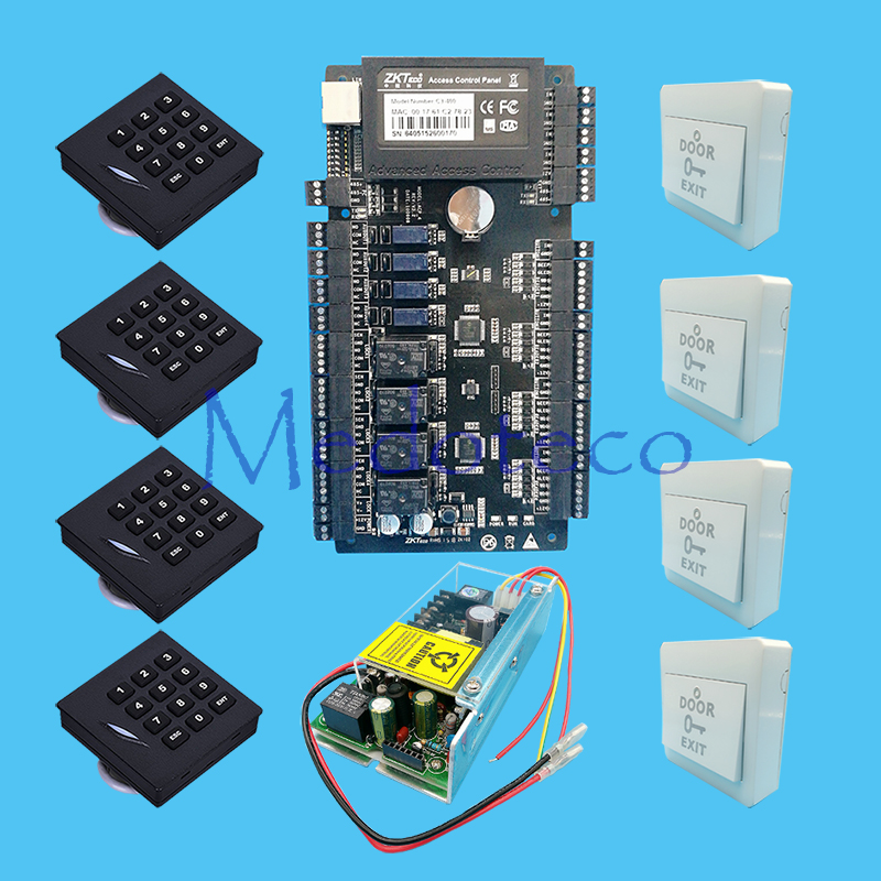 TCP/IP 4 doors access control panel Access control System+ 12V5A Power Supply +Keypad Rfid Reader KR102 Access Kit biometric face and fingerprint access controller tcp ip zk multibio700 facial time attendance and door security control system