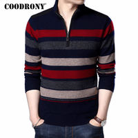 COODRONY Mens Sweaters And Pullovers Pure Merino Wool Sweater Men 2018 Winter Thick Warm Zipper Turtleneck Cashmere Pullover Men