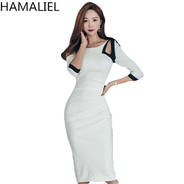 936506bcb42 HAMALIEL High Quality Summer Women Dress Office Lady Sexy Black White  Patchwork Bow Bodycon Slim Hollow Out Pencil Sheath Dress