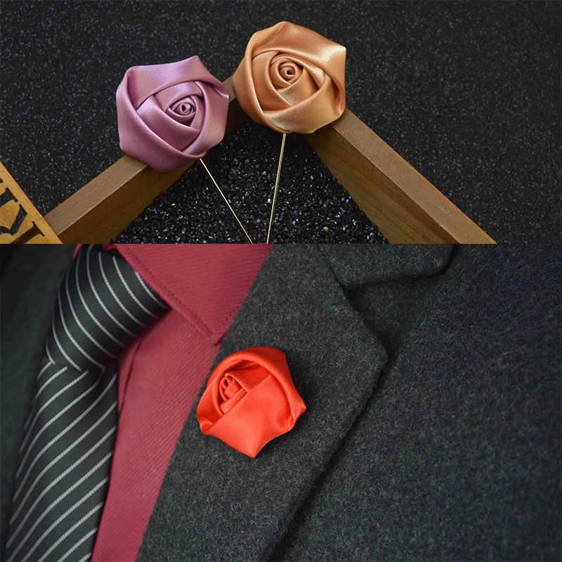 チャームシルクフラワーブローチピン男性のための結婚式トレンディ手作りラペルピンブローチ男性ブートニエールギフト