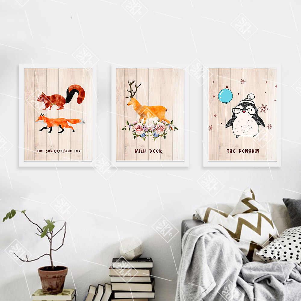 Nordic картина лиса олень деревянный узор стены книги по искусству Холст плакат Лесной животных детская печать живопись детская комната