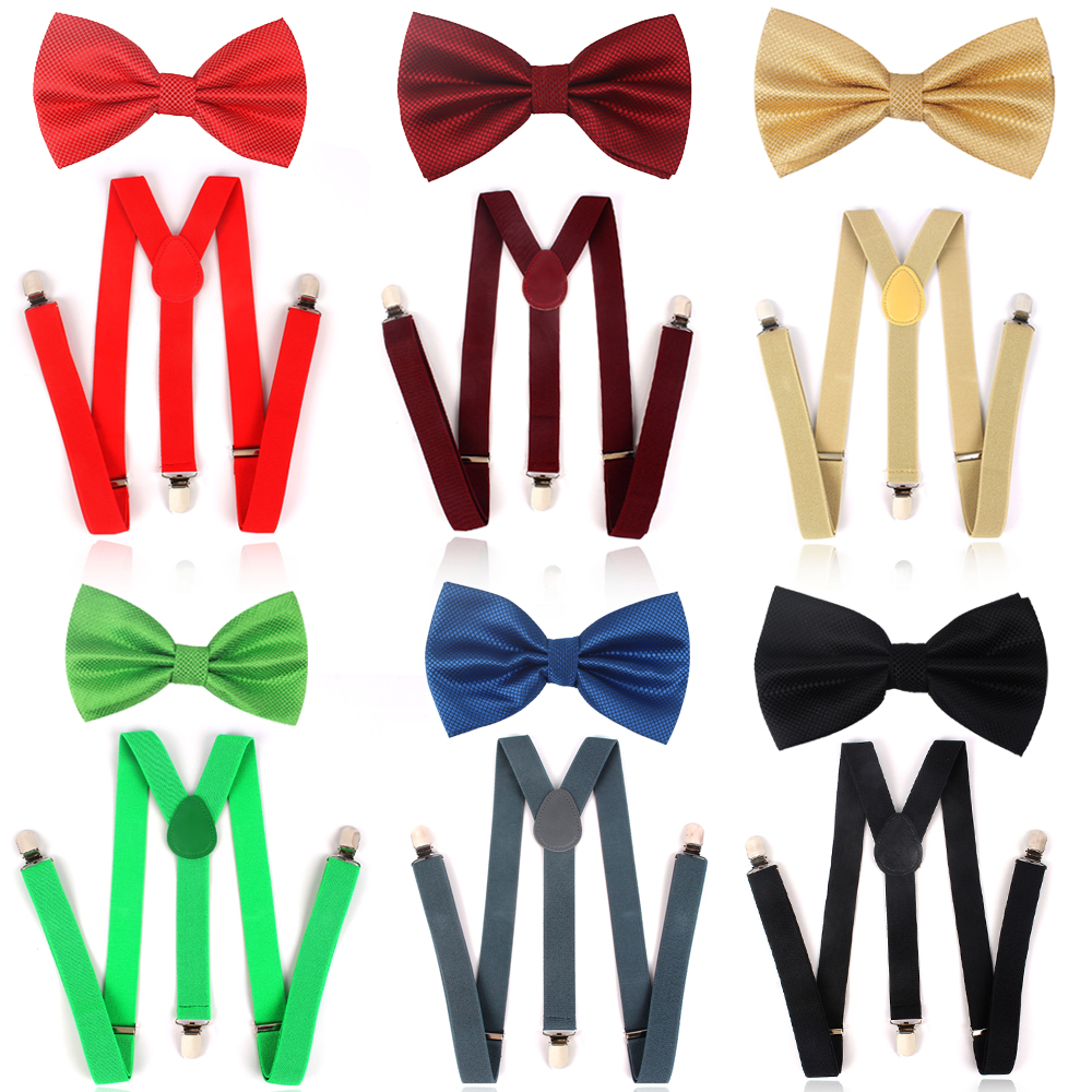 NEW Solid Men Bow Tie  And Suspender Sets Classic Shirts Bowtie  Suspender For Men Bow Ties Butterfly Cravats Bowties
