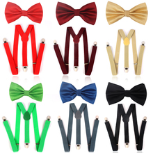 NEW Solid Men Bow Tie  and Suspender Sets Classic Shirts Bowtie For Ties Butterfly Cravats Bowties