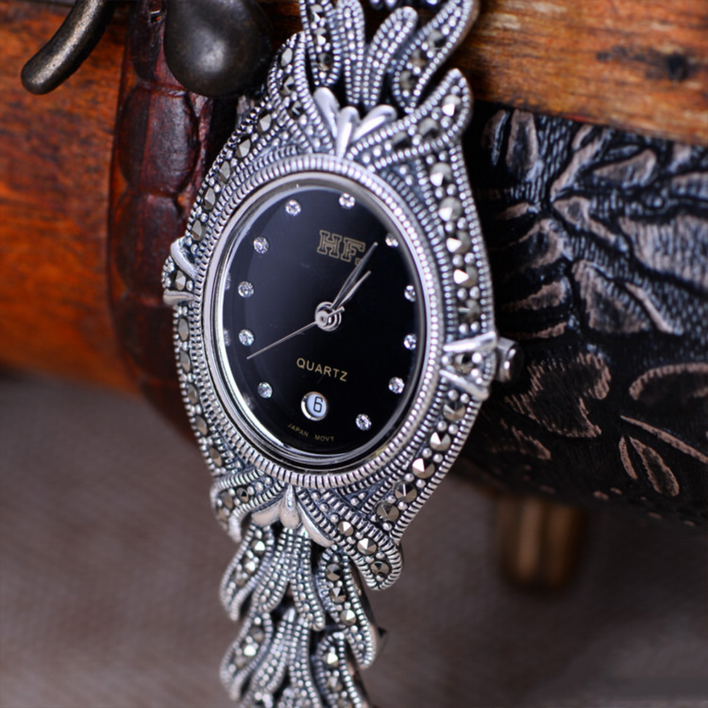 MetJaktทำด้วยมือทอนาฬิกาสร้อยข้อมือเงินกับเพทายแข็งเงินแท้925สร้อยข้อมือสำหรับสตรีนาฬิกาควอตซ์-ใน สร้อยข้อมือและกำไล จาก อัญมณีและเครื่องประดับ บน   2