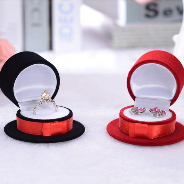 New Velvet Magician Hat Shape Display Box Case For Jewelry