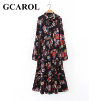 GCAROL New Arrival Floral Tie Up Women Long Dress Pleated Design Elegant Vintage Spring Autumn Maxi
