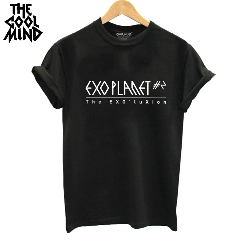 THE COOLMIND Top Quality Cotton Fashion Exo Print Loose Women Tshirt Cool Funny Women's Tee Shirts Tops 2017 New T Shirt