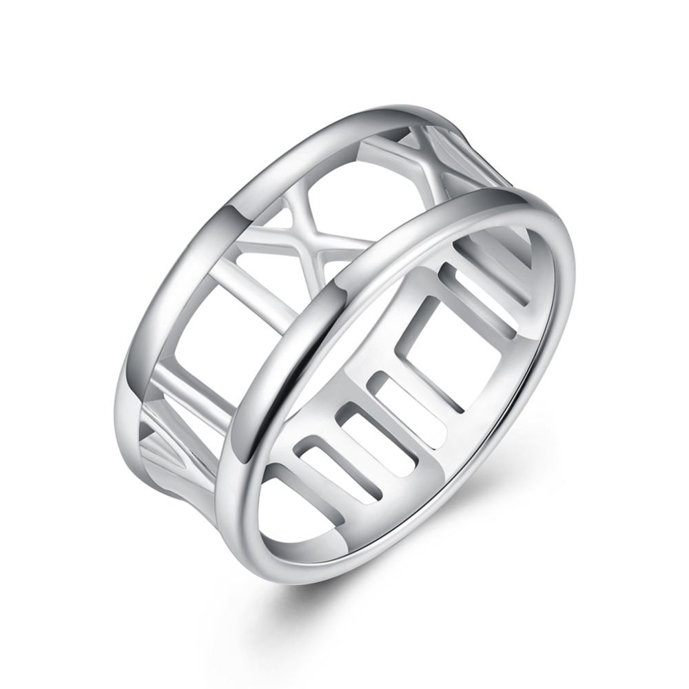 Creative personality silver jewelry hollow Roman alphabet silver ring to attract attention to the process