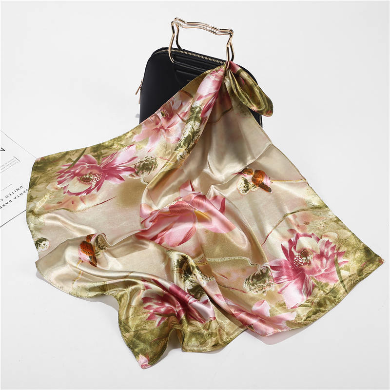 New Summer Fashion Square Scarf Luxury Brand Flower Silk Women Colorful Wraps Print Office Small Hair Neck Foulard