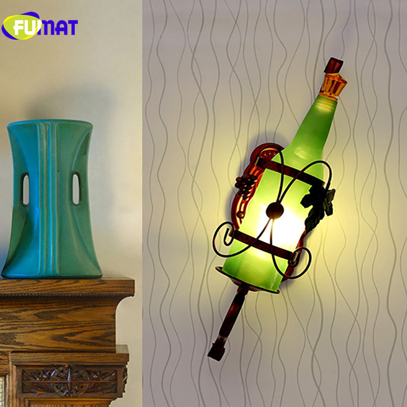 FUMAT Wall Lamps European Bedroom Bedside Light Wall Mounted Bar Vintage Sconce for Aisle Modern Glass Wine Bottle Wall Lamp LED цена