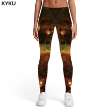 KYKU Halloween Leggings Women Skull Printed pants Grim Reaper Sport Pumpkin Elastic Forest Spandex Womens Pants Casual