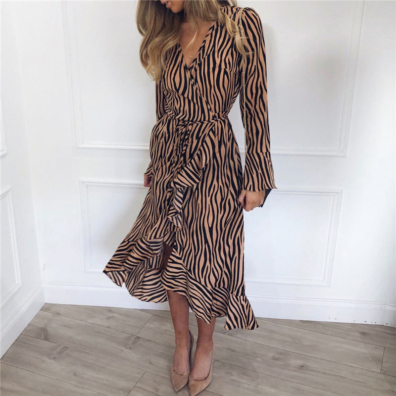 Long Dresses 19 Women Zebra Print Beach Bohemian Maxi Dress Casual Long Sleeve V Neck Ruffles Elegant Party Dress Vestidos 10