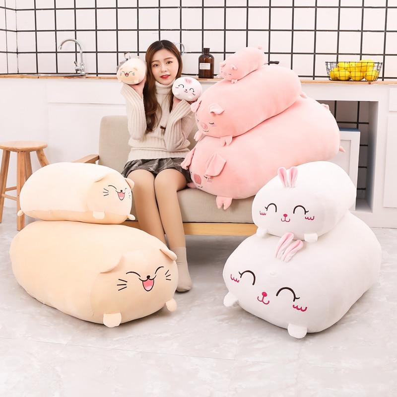 Plush Pig Cat Rabbit Bunny Toys Soft Pillow Cushion Stuffed Animal Plush Doll Girl Birthday Gift Kids Toys Cartoon Pillow