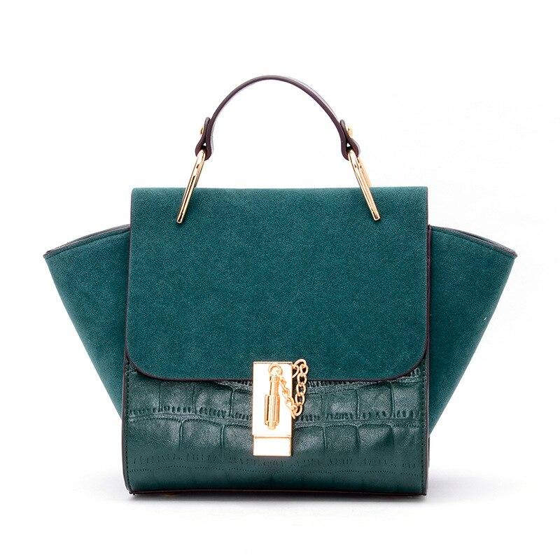 ФОТО Women shoulder bag Patchwork scrub handbags famous brand designer pu leather Messenger bags  Crocodile pattern Mini trapeze tote