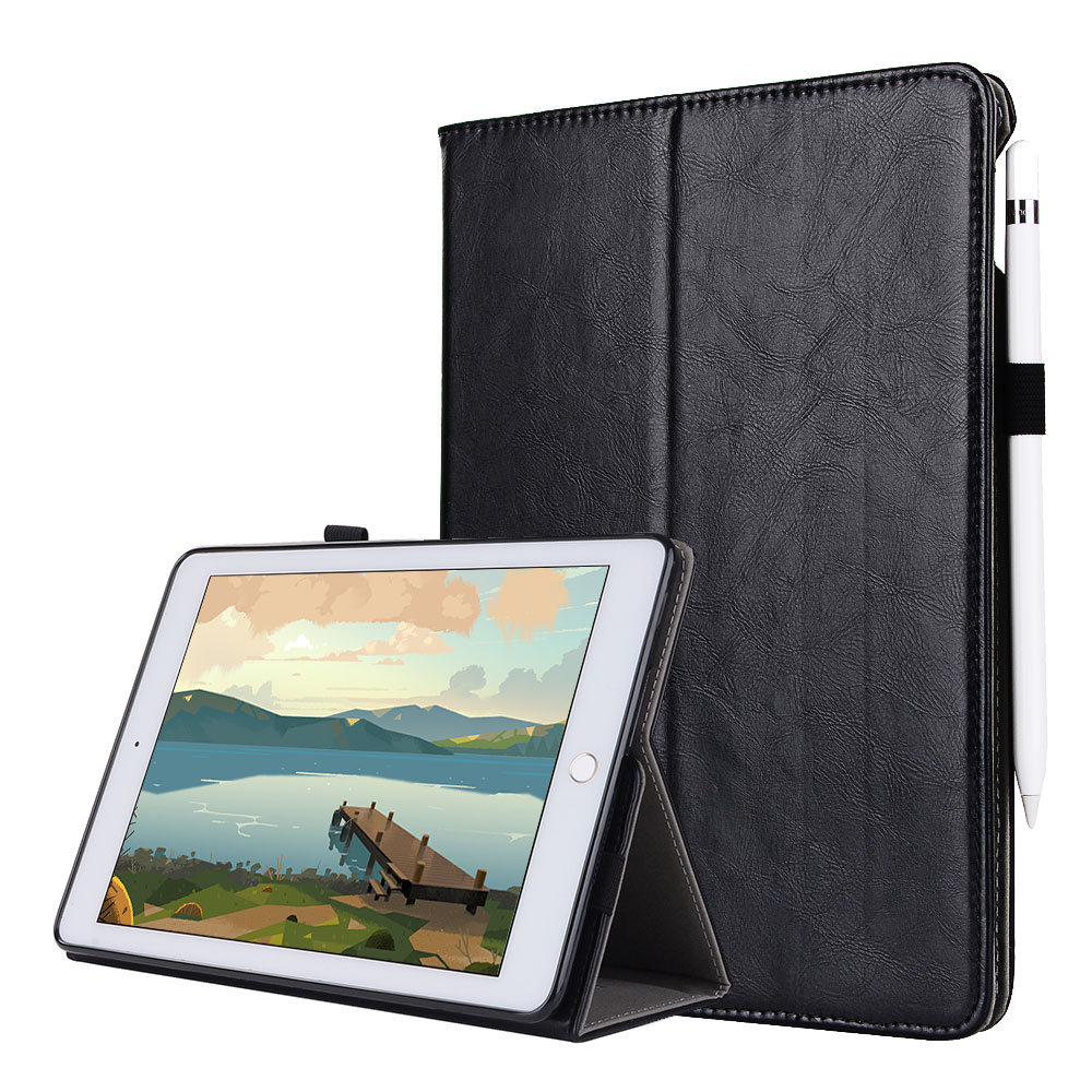 For iPad 9.7 2017 Smart Tablet Case Cover High Quality Genuine Leather+PU Folding Stand Case+Hand Strap+Card Slots+Pencil Holder