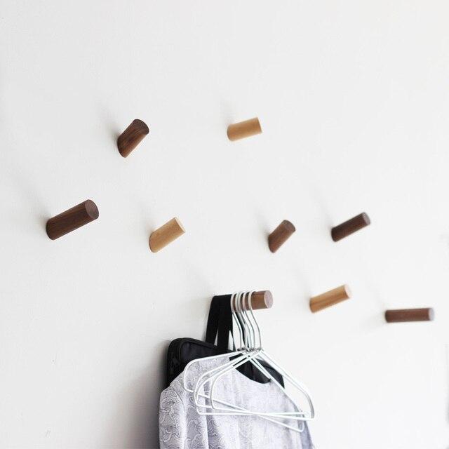 Massief Houten Muur Haken Minimalistische Woondecoratie Jas Doek Cap