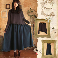 2015 Autumn Women S Elegant Loose Vintage Twinset One Piece Dress Janpanses Style Mori Girl