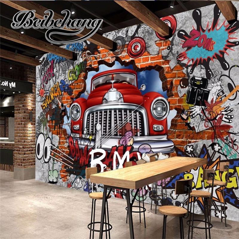 beibehang beibehang custom made Pvgy de parede 3D retractable old wallpaper TV wall wall 3D car graffiti wallpaper room beibehang custom 3d personality summer