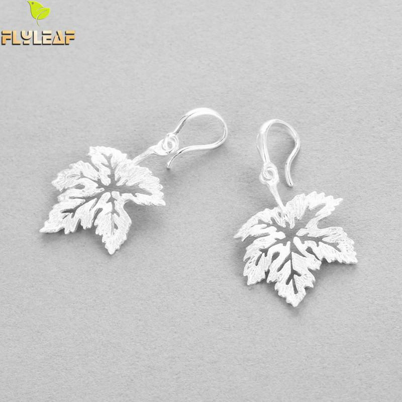 купить Flyleaf Brand 100% 925 Sterling Silver Hollow Maple Tree Leaves Big Earrings For Women Fashion Lady Creative Jewelry недорого