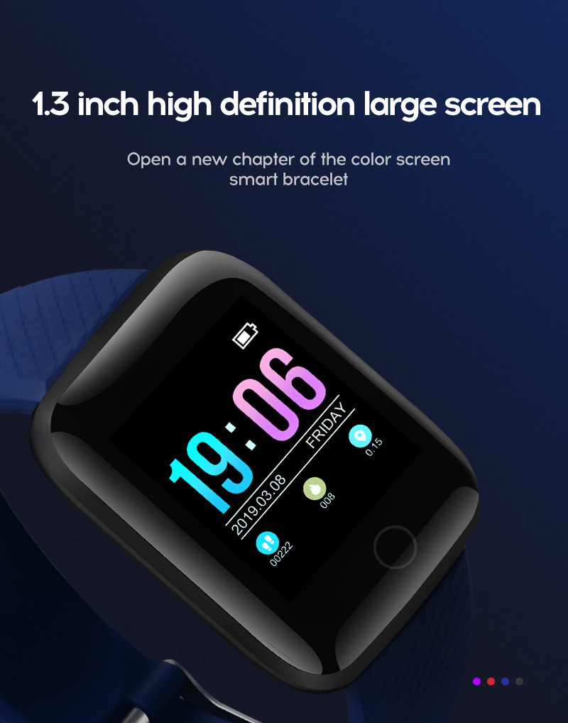LYKRY A6S Smart Bracelet Fitness Tracker Heart Rate Blood Pressure Monitor Smart Band IP67 Waterproof Sports For Android IOS+Box (4)
