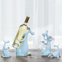 Europe Resin Deer Family Wine Rack Bottle Holder Creative Figurines Miniatures Furnishing Articles Home Decoration Accessories