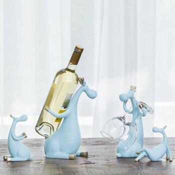 European resin Red Wine Rack Bottle Holder creative Figurines Miniatures deer family Furnishing Articles for home wedding decor