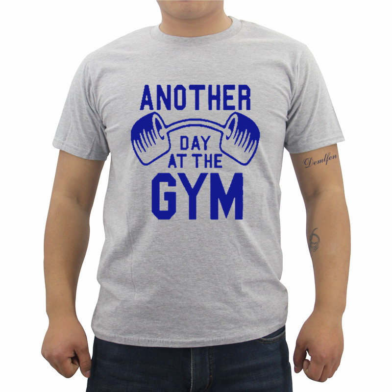 New Funny Another Day At The Gyms Men's T-shirt Male Casual Fashion Cotton Short Sleeve O-neck T Shirt Streetwear Fitness Tees