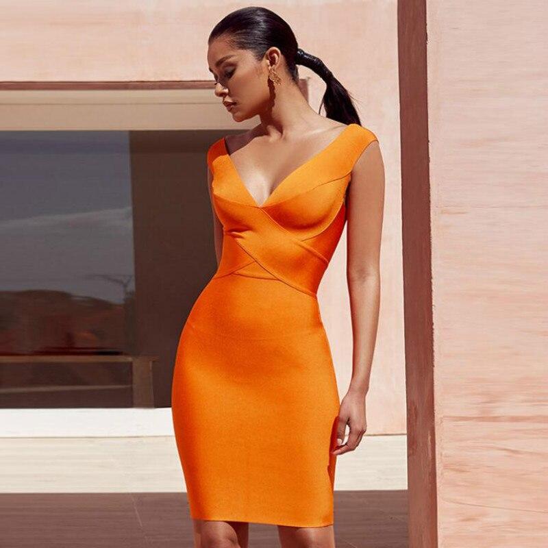 Summer Women Bandage Dress 2019 Orange Red Tank Sexy Deep V-Neck Sleeveless Bodycon Celebrity Party Dress Vestidos Verano