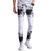 2017 New Arrivals Fashion Printed Cotton White Men Jeans Pants Slim Fit Casual Denim Trousers