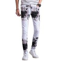 2017 New Arrivals Fashion Printed Cotton White Men Jeans Pants Slim Fit Casual Denim Trousers