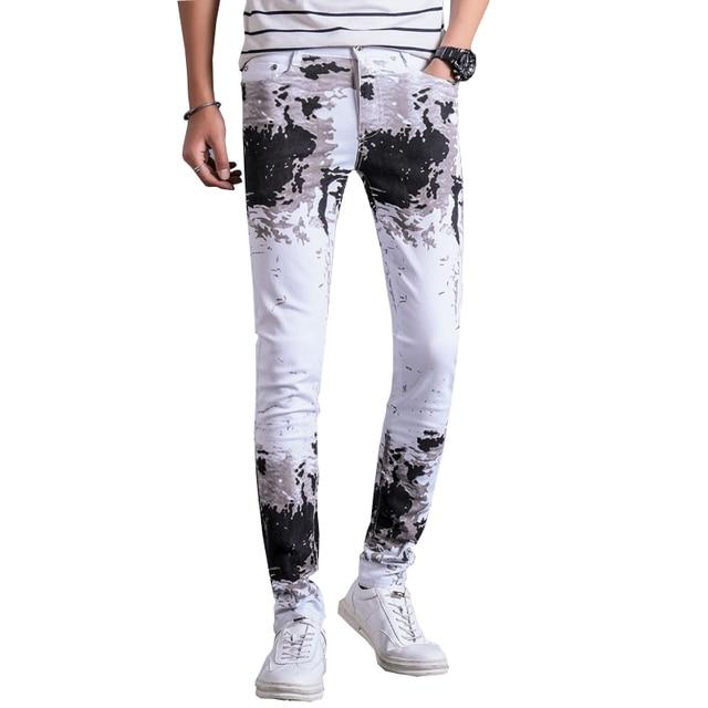 mode pantalon denim 28 jeans nouveautés pantalon blanc hommes imprimé slim 2017 coton fit casual TH015wqq