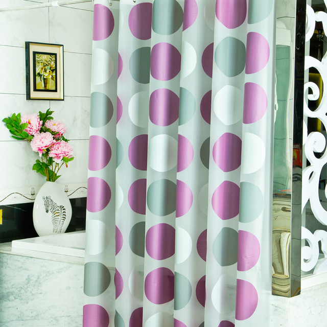 2016 New Top Grade Modern PVEA Purple Circle Shower Curtains Waterproof Mouldproof Thicken Curtain Bathroom