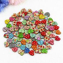 100 многоцветные в форме сердца 2 отверстия деревянные пуговицы для шитья скрапбукинга нопф бутон Рождественский подарок Прямая поставка