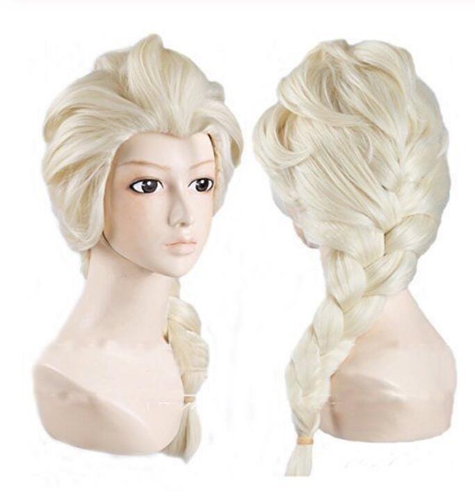 Jewelry Wig Frozen Elsa Princess Cosplay wig Long Weaving Braid Light Blonde Wigs Free Shipping(China)