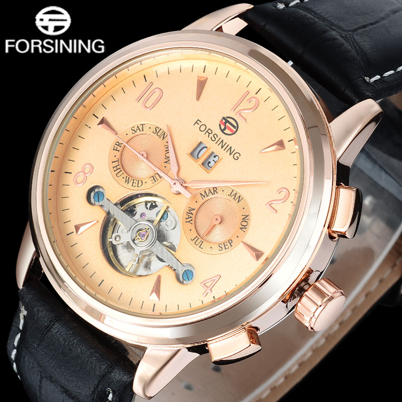 Fashion Casual FORSINING men watches luxury gold dial design tourbillion wristwatches auto Mechanical relogio masculino A848 2016forsining luxury relogio masculino men s day week tourbillion auto mechanical watches wristwatches gift box free ship