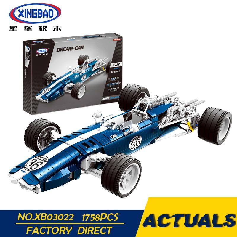 купить XINGBAO 03022 03023 Genuine The Blue Racing Car Set Building Blocks Bricks Educational Funny Toys As New Year Gifts For Kids по цене 5371.8 рублей