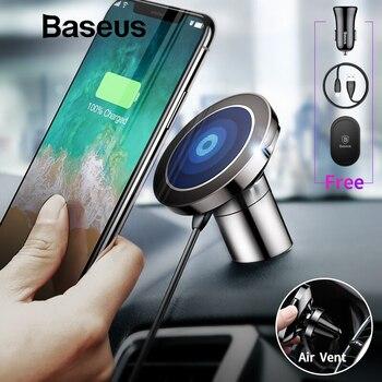 Baseus Magnetic Car Phone Holder para iPhone Samsung coche cargador inalámbrico soporte imán de montaje de ventilación de aire titular del teléfono móvil
