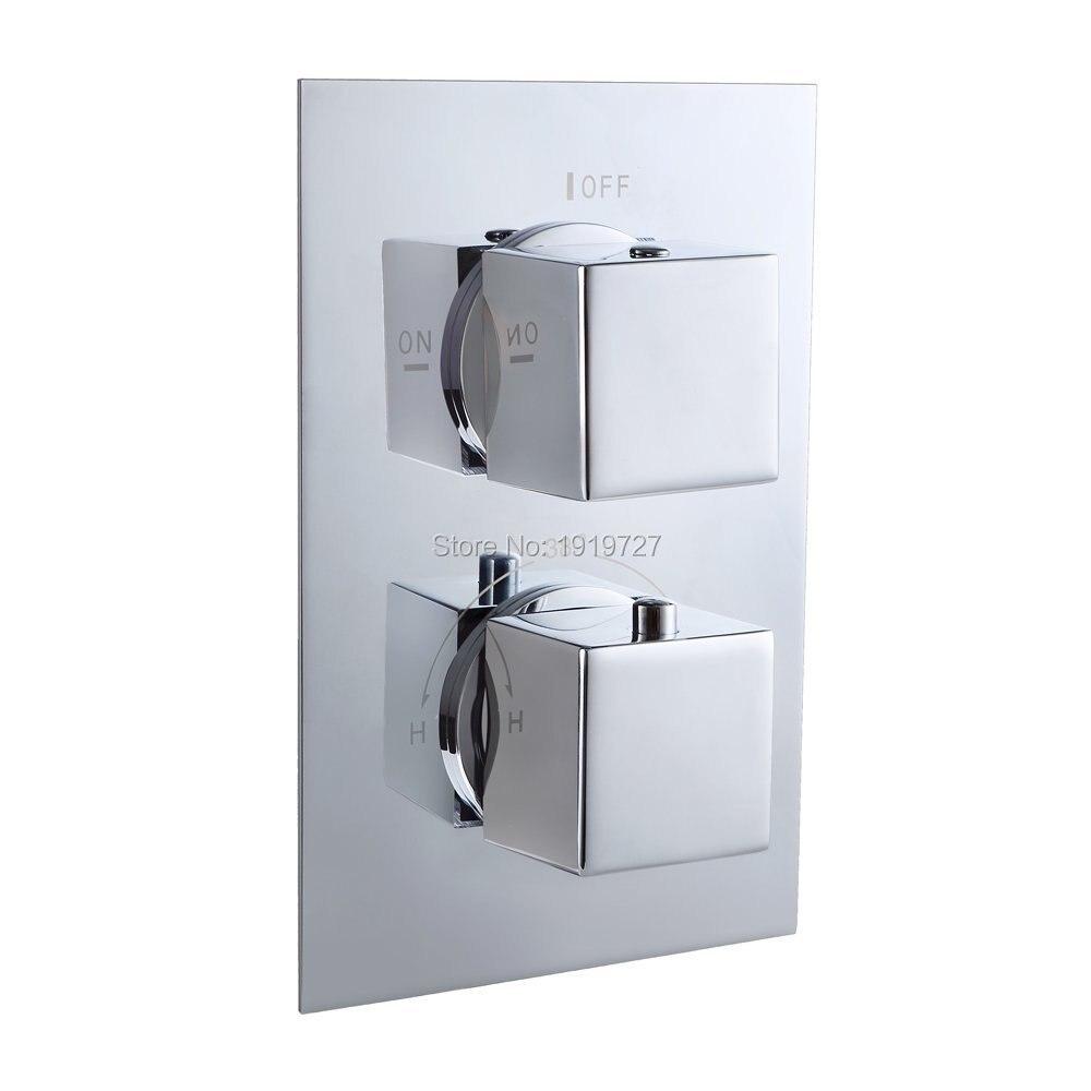 Высокое качество скрытые Ванная комната Для ванной термостатический Клапан смесителя площадь 2 Наберите 2 Путь Контроль температуры 2 функц