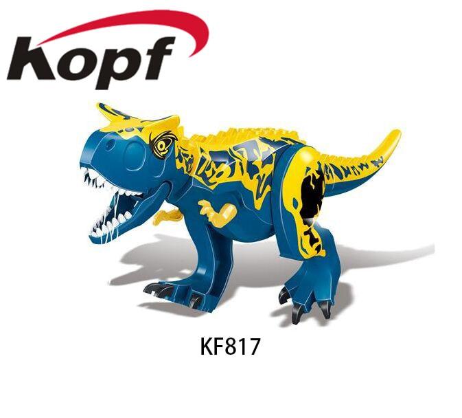 Galleria fotografica Costruzione di Blocchi di Mattoni Blu Carnotarus Tyrannosaurus <font><b>Rex</b></font> Il Dinosauro Action Movie Figure Per La Raccolta Dei Bambini Giocattoli KF817