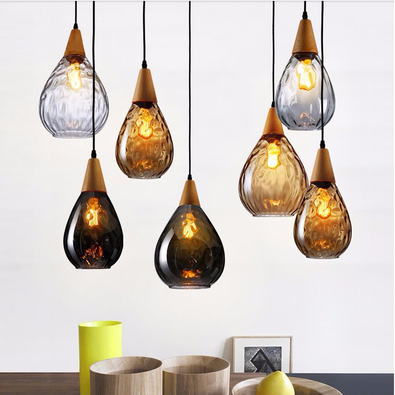 Vintage Handmade Europe Clear/Amber/Gray Crystal Glass&Wood Led E27 Pendant Light for Dining Room Restaurant Lamps 1445 vintage handmade carved crystal glass bulbs led g9 pendant light for dining room living room bar restaurant lamps 1484