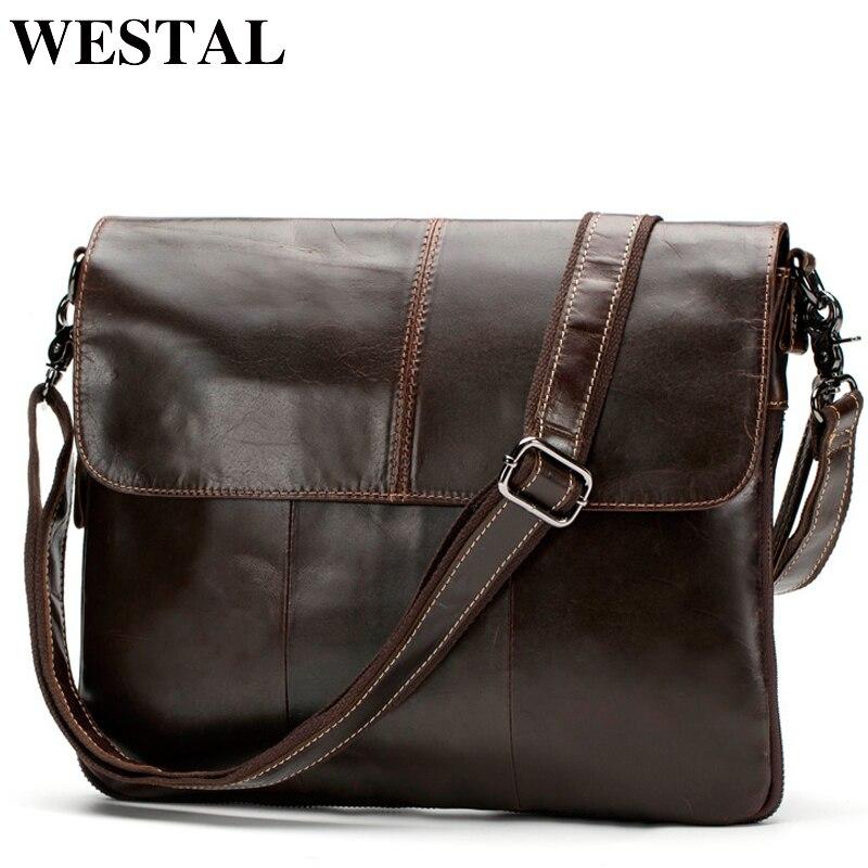 WESTAL сумка для мужчин сумки на плечо пояса из натуральной кожи молнии кожа мужские сумки через плечо клатч мужской ранцы 8007