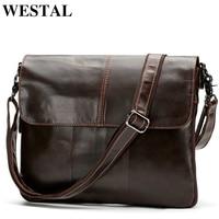WESTAL Messenger Bag Men Shoulder Bags Genuine Leather Zipper Leather Crossbody Bags for Men Bags Men Clutch Male Satchels 8007