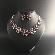 2017 NEW Luxury fashion popular red zircon flower necklace earrings sets bride wedding formal dress banquet model jewelry