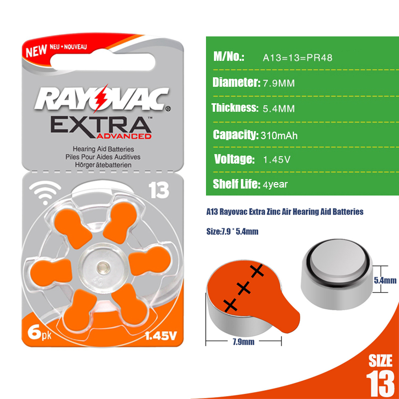 Image 2 - 180 PCS RAYOVAC EXTRA Zinc Air Performance Hearing Aid Batteries  A13 13A 13 P13 PR48 Hearing Aid Battery A13 Free Shippinghearing aid batteries a13battery a13zinc air - AliExpress