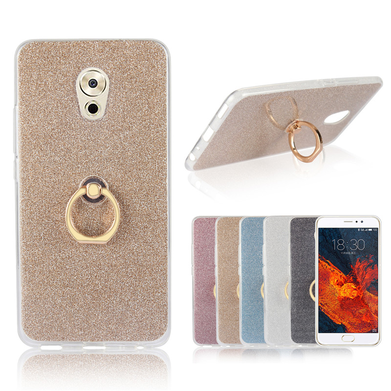 Mobile phone case for Meizu Pro 6 Plus clear silicone soft case shinning glitter phone cover with Gold Metal Finger Ring holder