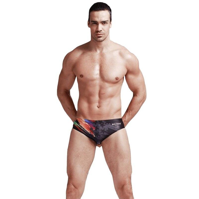 2018 Swimwear Men Shorts swimsuit Competitive Bathing suit Competition Trunk Waterproof Beach Tight Briefs Print Black Plus Size
