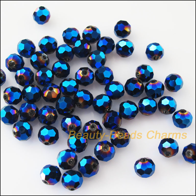 25Pcs Loose Faceted Ball Glass Crystal Spacer Beads Charms Shiny Blue 8mm