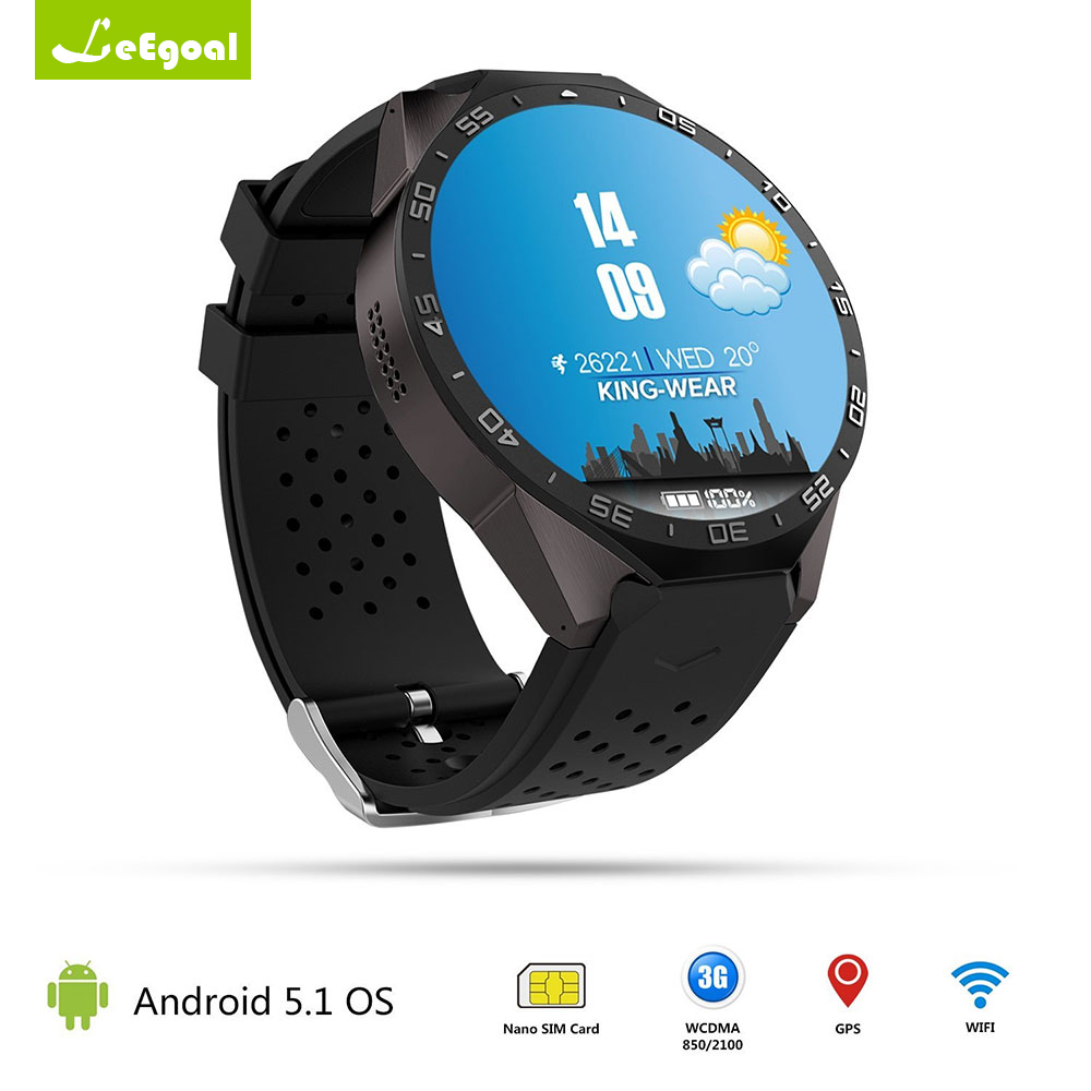 Leegoal KW88 Montre Smart Watch Android 5.1 GPS 3G WIFI Smartwatch Mtk6580 Bluetooth SIM Android Caméra Moniteur de Fréquence Cardiaque Smart montre