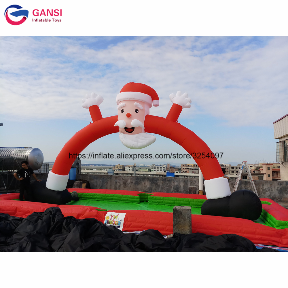 6m height santa claus inflatable arch christmas decoration air archway with air blower Oxford material inflatable christmas arch